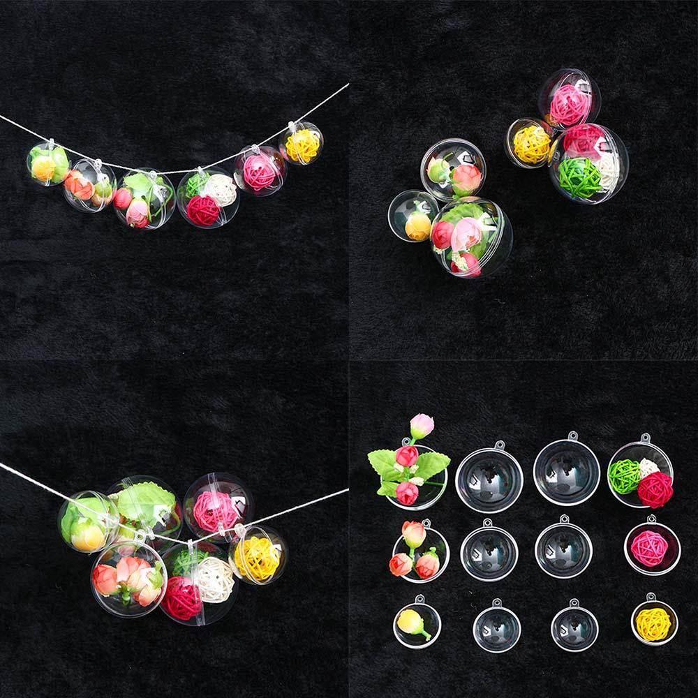 10Pcs 4/5/6cm Transparent Open Plastic Christmas Tress Decorations Ball Clear Bauble Ornament Gift Present Box Decoration