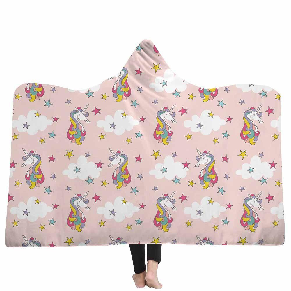 Lannidaa Cartoon Cute Pink Unicorn Blanket WinterWarm Hooded Blankets For Children Wrapped Throw Sofa Bed Printed Fleece Blanket