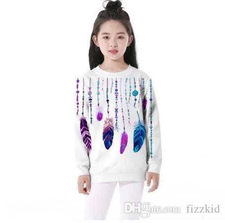 Domi Ketty Kinder Hoodies drucken Kette Feder ethnischen Mädchen Jungen weiß Langarm Sweatshirts Kinder lässig Pullover Kleidung