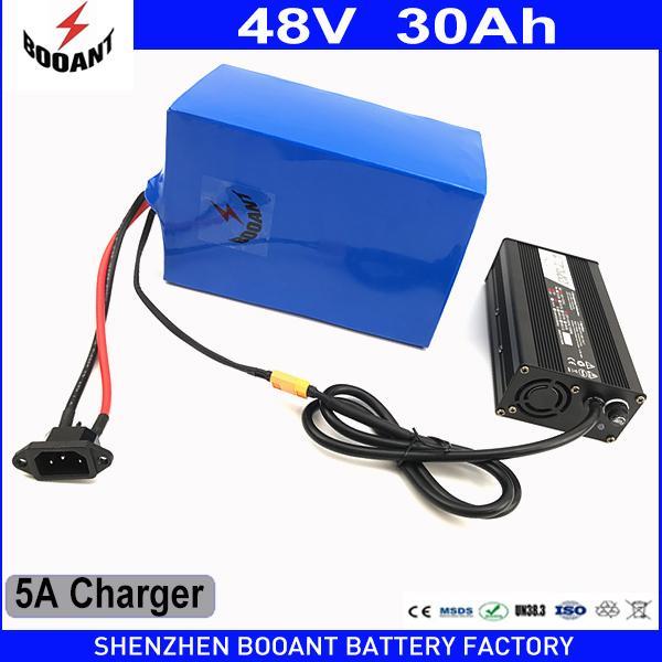 BOOANT High Capacity 48v 30Ah elektrische Fahrrad-Batterie 1800w mit 5A Ladegerät gebaut 50A BMS Lithium-Ionen-Batterie 48V Freien Verschiffen