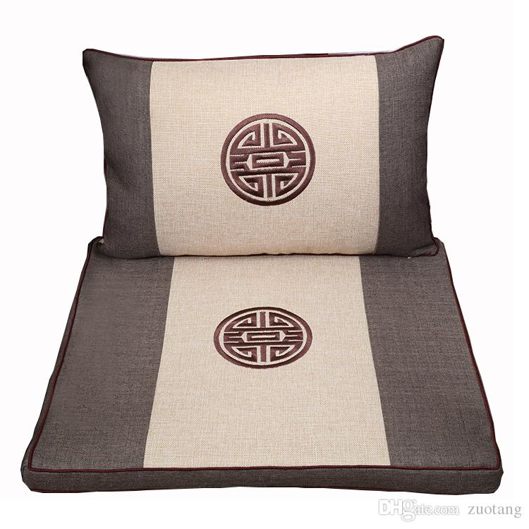 Embroidered Joyous Cotton Linen Seat Cushion for Sofa Chair Decorative Ethnic Back Cushion Chinese style Lumbar Pillow