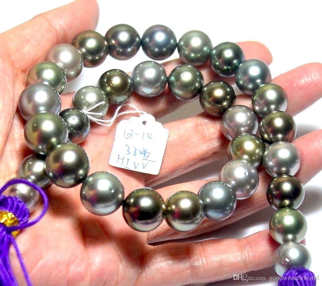Joyas de perlas finas Colores naturales de alta calidad redondos 12-14mm Tahitian Multicolor Multicolor Pearl Strand 18 pulgadas