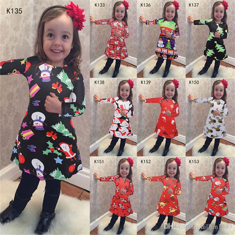 2018 Christmas Dress Children Wear Long Sleeve Cartoon Xmas Costume Girl Princess Dress Autumn Winter New Style