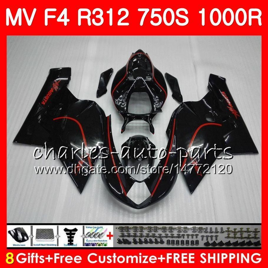 Ciało dla MV Agusta F4 R312 750S 1000 R 750 1000CC 05 06 102 HM.4 750 S 1000R 312 1078 Red Line Black 1 + 1 MA MV F4 2005 2006 05 06 Zestaw targowy