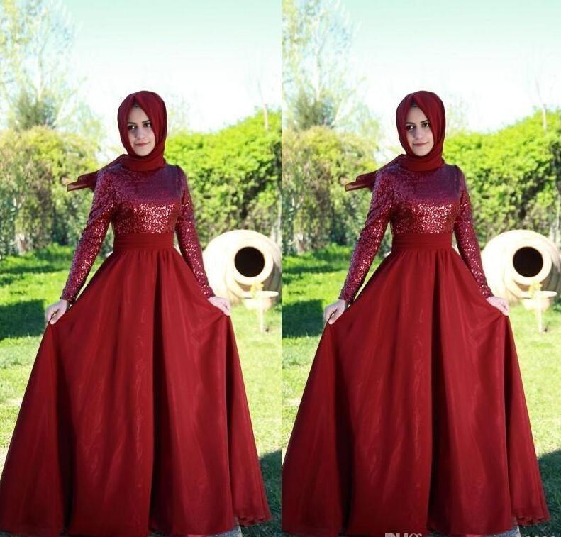 Dicho Mhamad musulmán vestidos de noche con lentejuelas rojas mangas largas joya cuello alto satén Formal vestidos de baile yousef aljasmi vestidos de noche desgaste
