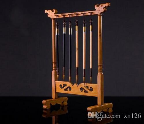 Brush Hanger Bamboo Rack Painting Calligraphy Sumi-e Penholder Tool 12 Hooks