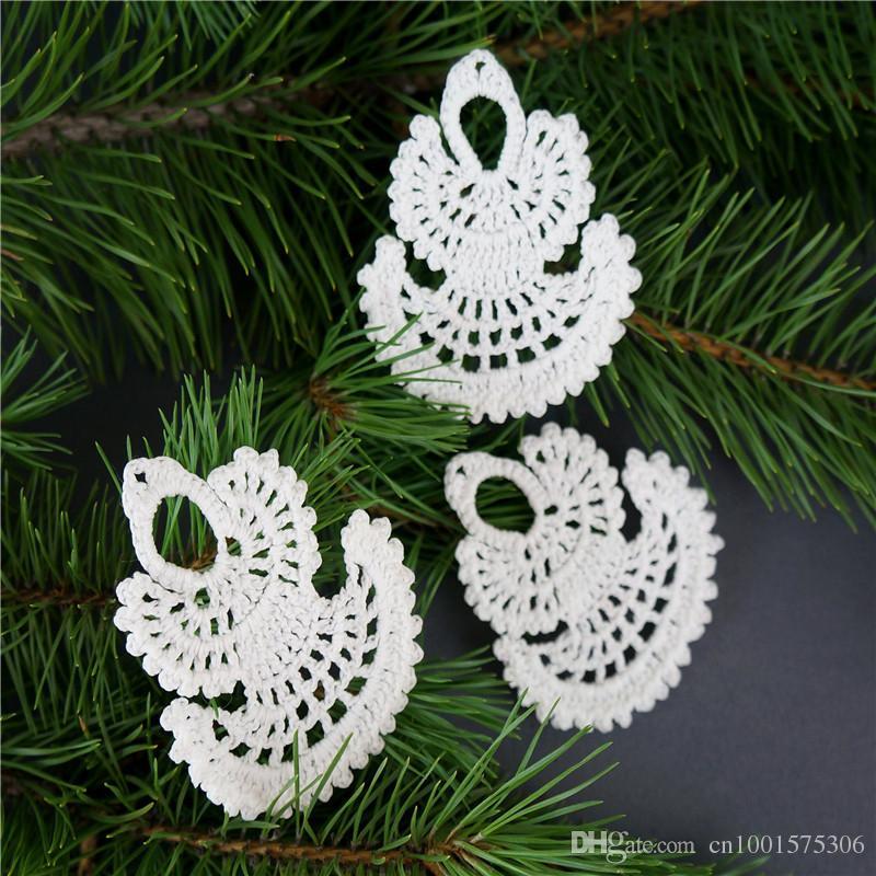Crochet Christmas angel Set 10 piezas White crochet angel Adornos navideños Adornos navideños