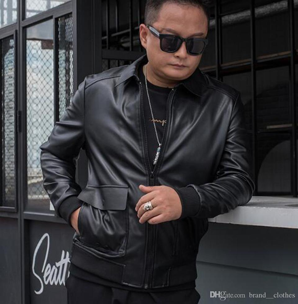 Осень зима мода Европа и Соединенные Штаты Америки новый стиль тонкий тренд бутик мужская лацкан большой размер свободные кожаные куртки M-4XL