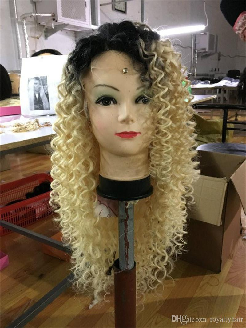1B 613 color hair Wigs Water wave Blonde Ombre Full Lace Wig front lace With Bleached Knots baby hair 130 Density