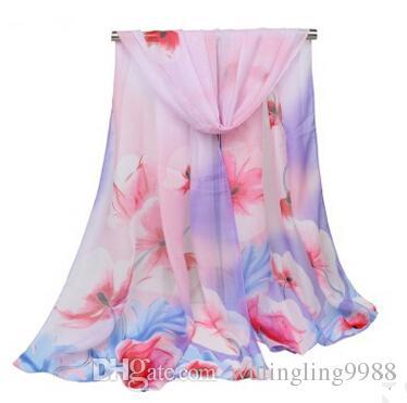 10PCS الأزياء وشاح طويل إمرأة الزهور المتضخم الأوشحة شال الشيفون وشاح روز الأوشحة المرأة شالات 155 * 50 سم
