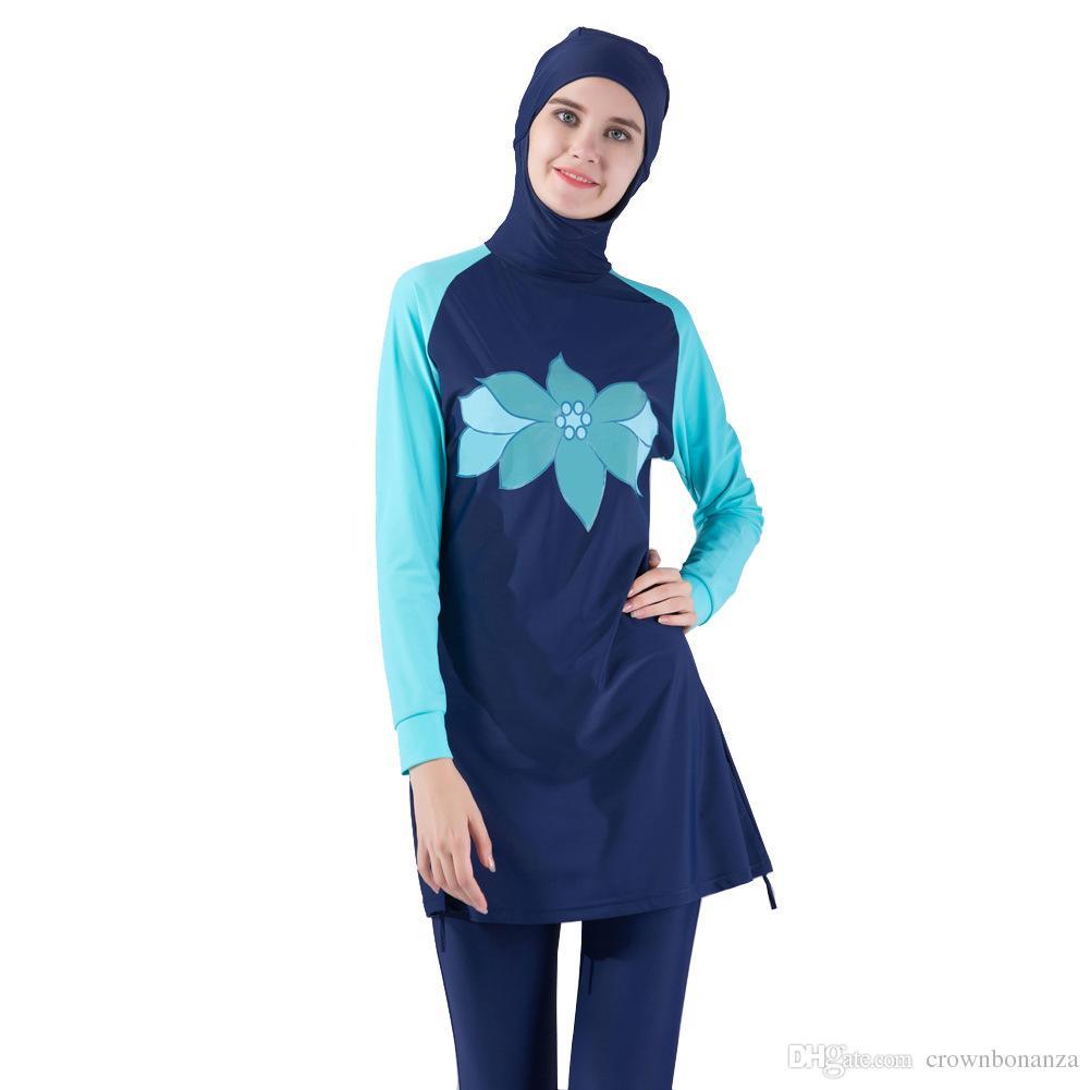 cf147e0dc8 Muslim Swimwear Islamic Women Modest Hijab Plus Size Burkinis Wear Swimming  Bathing Suit Beach Full Coverage Swimsuit