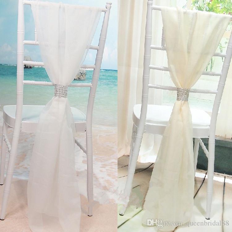 Chic 2019 Blanc / Ivoire Chaise Ceintures Pour La Fête De Mariage avec Boucle De Chaise De Mariage Couvre La Chaise De Mariage De Bambou Décoration
