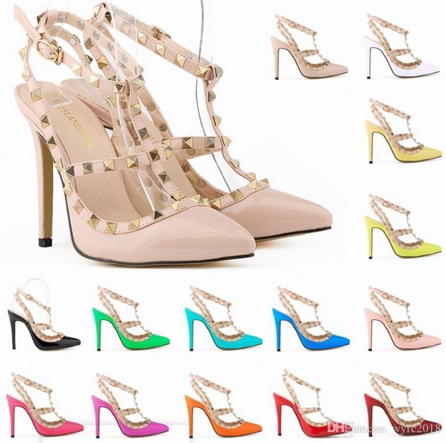 Sexy High Heels Women Fashion Personality Hollow Rivets Stitching Fine with High-heeled Shoes Wedding Banquet Women Shoes size;35-42 @302-5