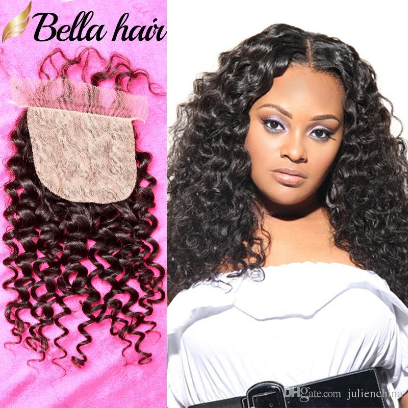 Bella Hair® İpek Bankası Kapatma julienchina postiş 100 İşlenmemiş Brezilyalı Virgin İnsan Saç Kapatma Doğal Kıvırcık İpek Bankası Üst Kapaklar
