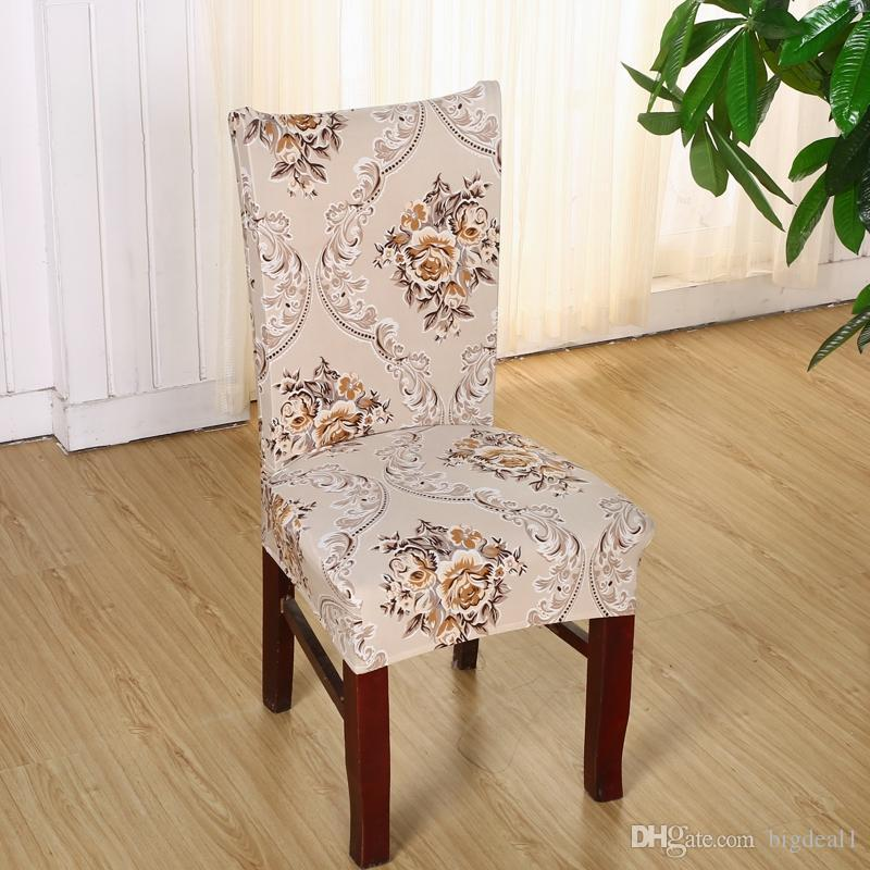 1 Piece Polyester Spandex Chair Covers Printed Elastic Dining Chair Covers For Wedding Party Dining Chair Seat Covers V49
