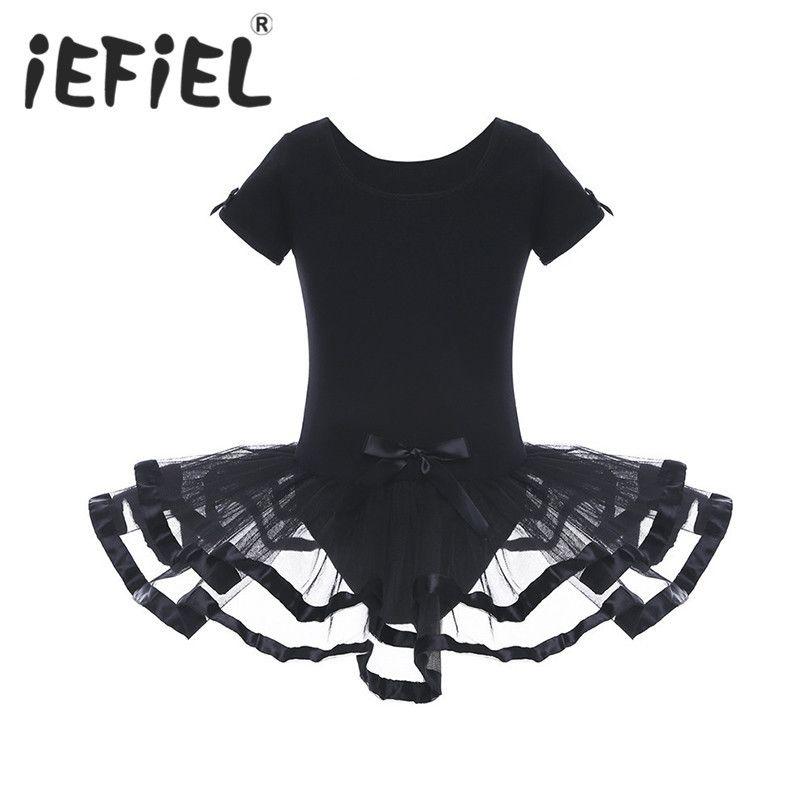 أسود بنات شبكة الباليه زهرة الرقص الجمباز يوتار اللباس مع bowknots راقصة الباليه توتو اللباس Y1891309