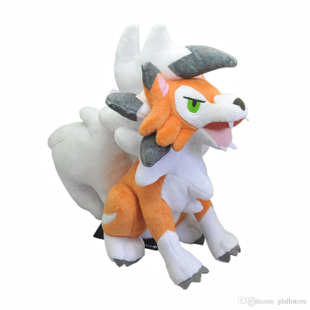 "Hot New 9.5"" 24CM Sitting Lycanroc Dusk Form Rock Plush Doll Anime Collectible Stuffed Dolls Best Gifts Soft Toys"