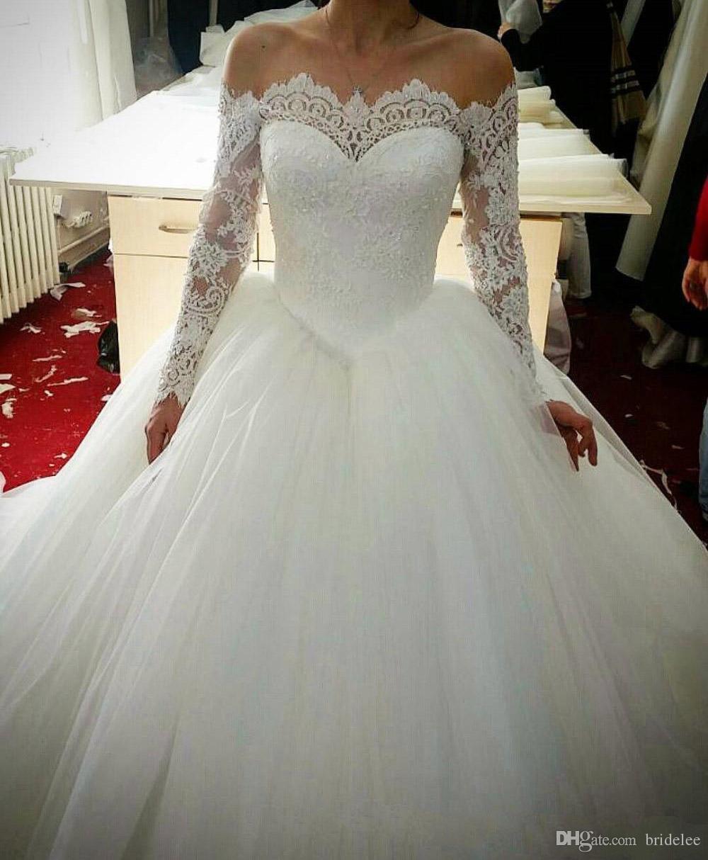 Großhandel Vintage 17 Long Sleeves Spitze Brautkleider Robe De Marriage  Ballkleider Appliques Vestido De Noiva Libanon Brautkleider Von Bridelee,