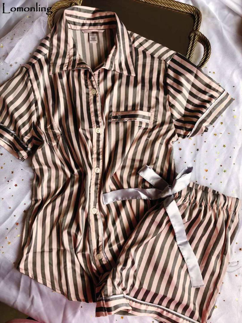 Lomonling 2018 casa de verano pijama de rayas trajes originales individuales de manga corta de origen