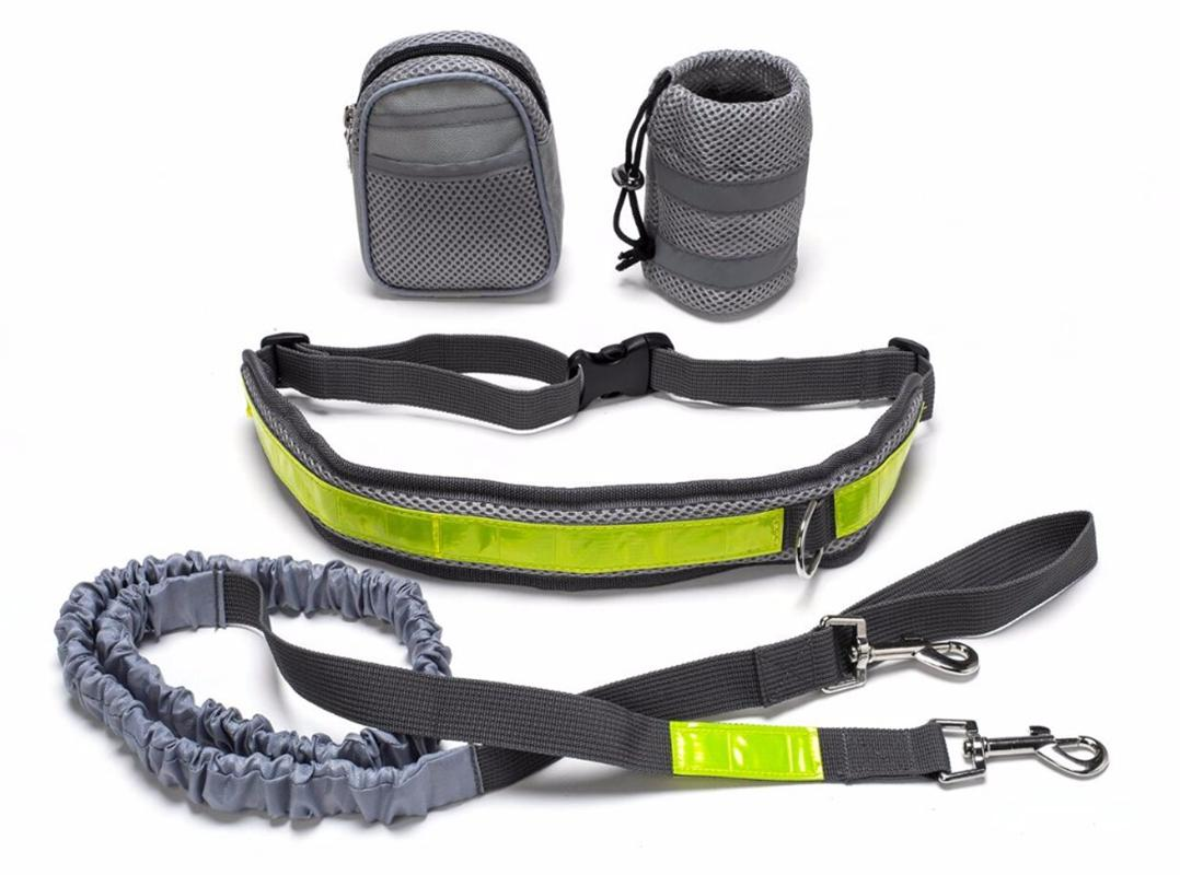 Hands Free Dog Leash for Running, Walking, Hiking, Durable Dual-Handle Bungee Leash,Reflective Stitching Adjustable Waist Belt