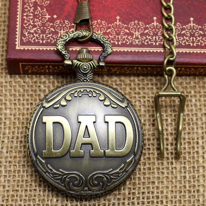 Collection Chain Big Size DAD Hour Chest Father Dad Christmas Gift Quartz Pocket Watch