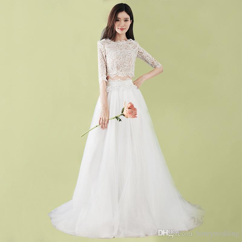 Fashion Two Pieces Wedding Dresses 2018 Korea Fashion Half Sleeves Wedding Gowns Cheap Country Bohemian Beach Bridal Gown Australia 2020 From