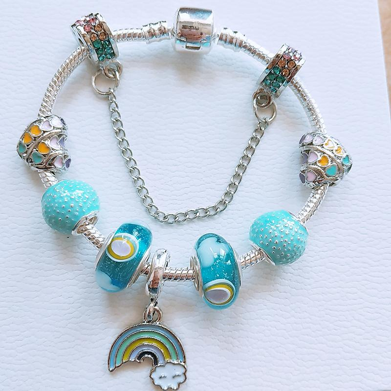 Vintage Style Bead Charms  Blue Glass Set of Four