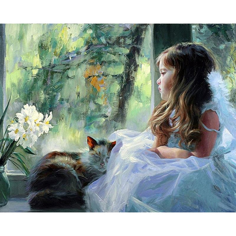 Figura senza cornice pittura ragazze fai da te pittura by numbers moderna parete arte pittura su tela pittura acrilica per la decorazione domestica