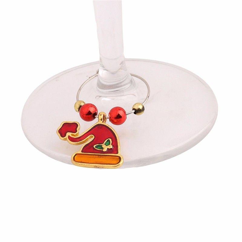 Weihnachten Weinglas Dekoration Anhänger Partei Neujahr Cup Ring Tischdekorationen Weihnachten Anhänger Metallring-Dekor