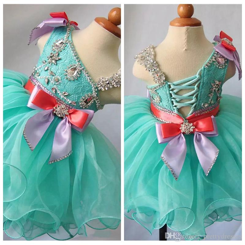 Cute Beaded Crystal Top Lace Bling Girls Pageant Cupcake Dresses Infant Kids Mini Short Party Gowns Toddler Kids Birthday Party Gowns 2019