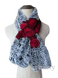 Women Winter Real Rex Rabbit Fur with three Flowers Handmake Knitted Scarf Warm Soft
