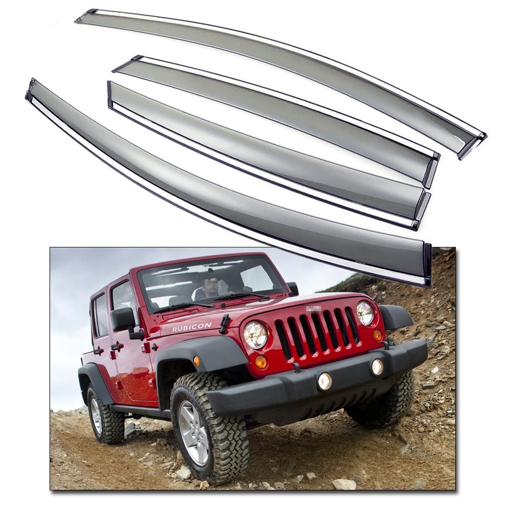 New 4Pcs Front & Rear Car Window Visor Deflectors Vent Shade fit for Jeep Wrangler 2011-2016 12 13 14 15