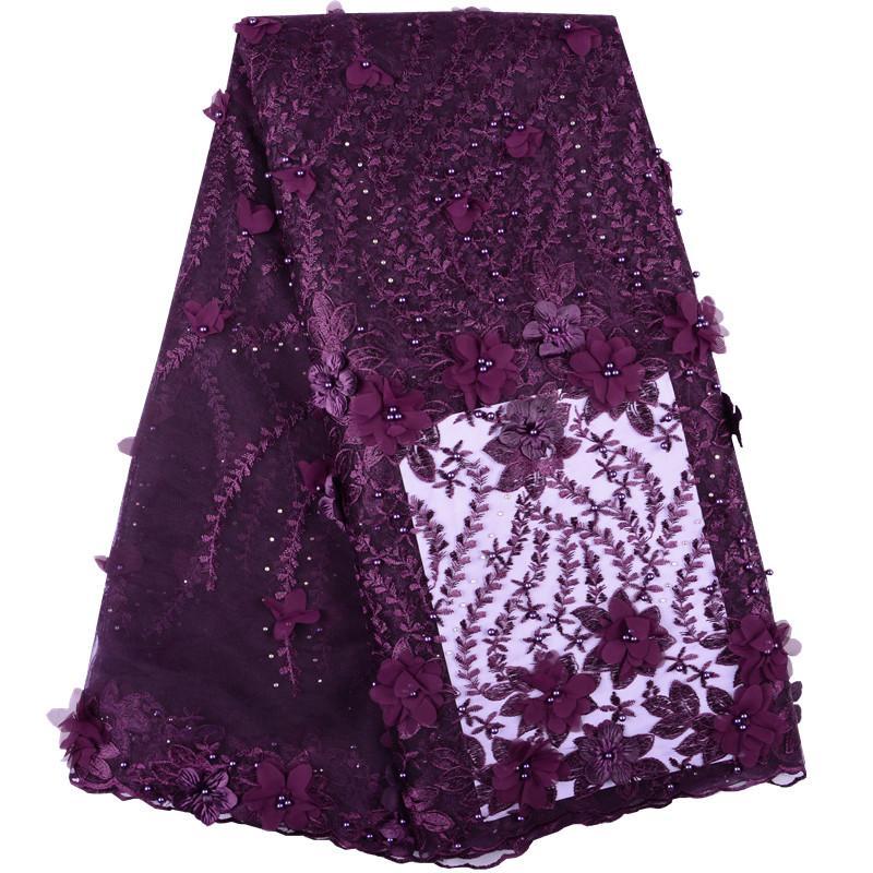 Şarap 3D Çiçek Fransız Tül Net Dantel Kumaş Ile Boncuk Ve Taşlar Kadınlar Için Yeni Yüksek Kalite Afrika Dantel Kumaş Elbise S1400