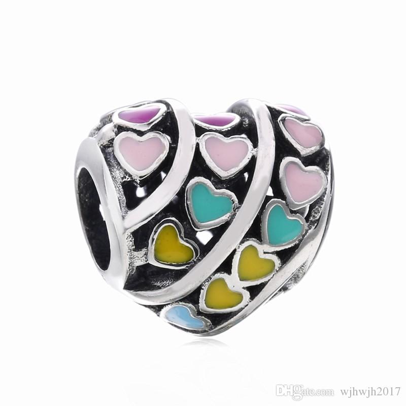 New Authentic 925 Sterling Silver Mixed Enamel Rainbow Hearts Beads Charm Fit European Charm Bracelet Bangle For Women DIY Jewelry Making