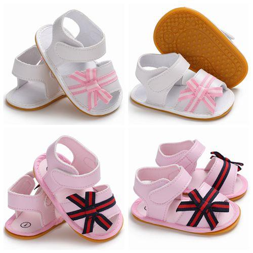 f4940dc698 Compre 2018 Verão Bebê Menina Sandálias Bonito Bowknot Sapatos Crianças  Sandálias De Couro Da Criança Sapatos De Sola De Borracha Infantil Listrado  Anti ...