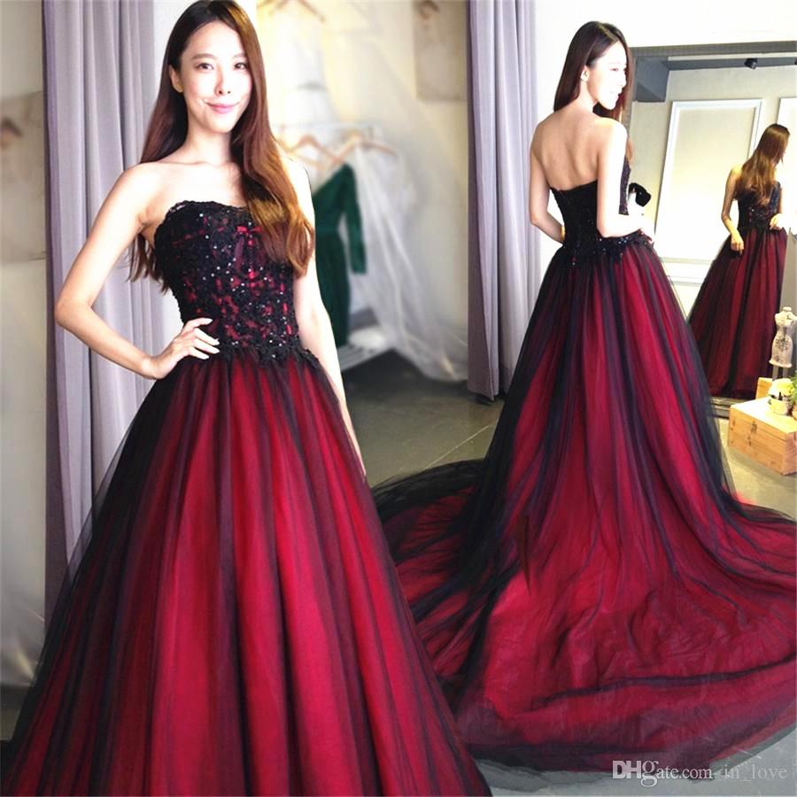 Gothic Red And Black Wedding Dress Strapless Dazzling Applique Ball Gown 1850s Vintage Bridal Gowns Classic Design Custom Made Canada 2020 From In Love Cad 162 80 Dhgate Canada
