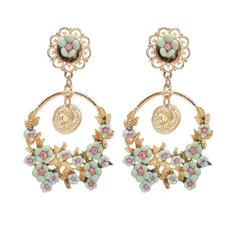 Moda de alta qualidade 4 cores barroco gota brinco jóias Europa vento rosa flor oscila brincos para as mulheres