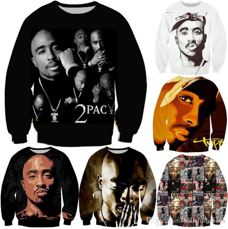 Hommes en gros-Mode Femmes Pull Hoodies Hip-Hop impression 2pac Tupac Sweat-shirt ras du cou à manches longues 3D Hauts Casual Sueurs