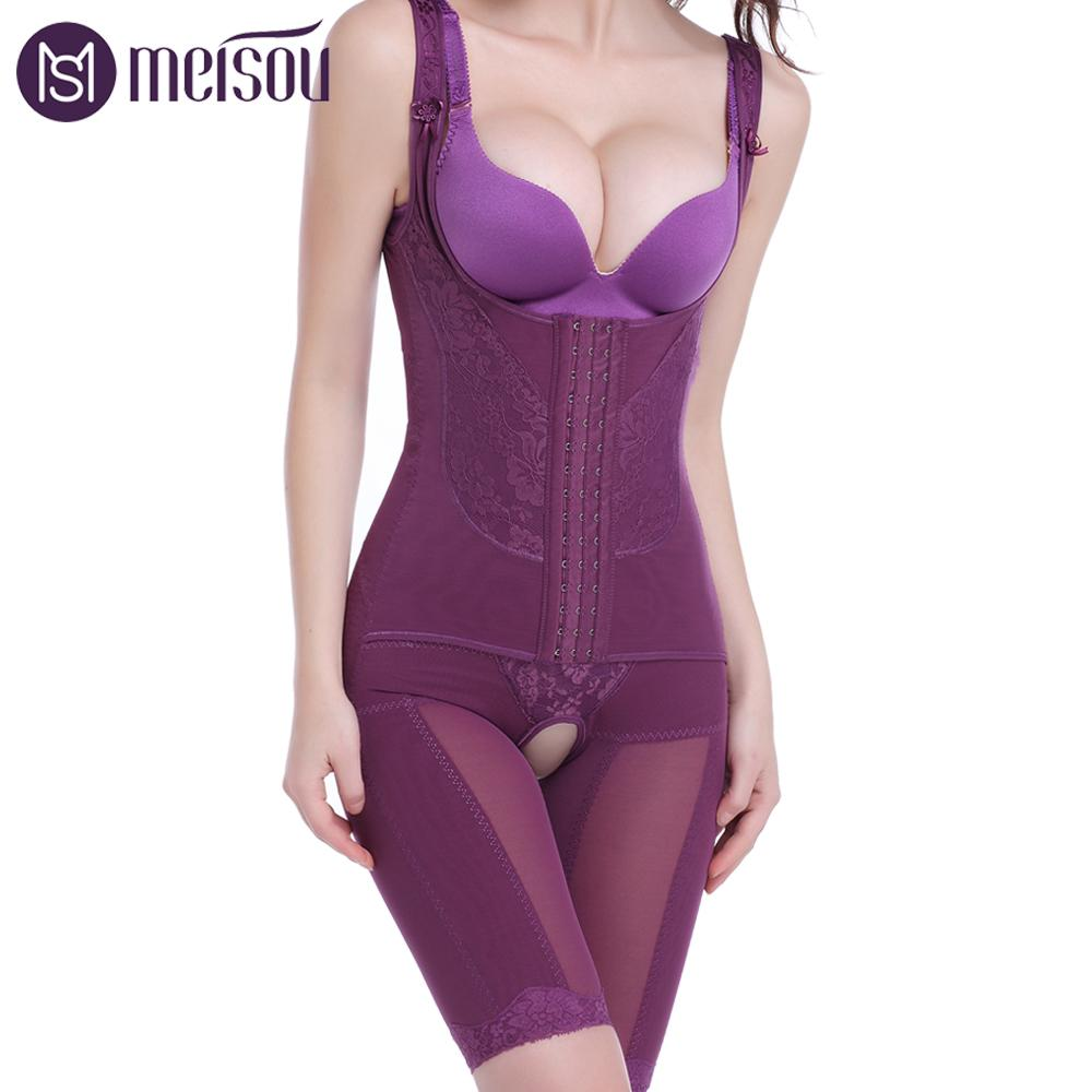 Meisou Women Full Body Shaper Magnetic Compression Strappy Sexy Firm Waist Trainer Corset Shapewear Perfect Weight Loss Slimming