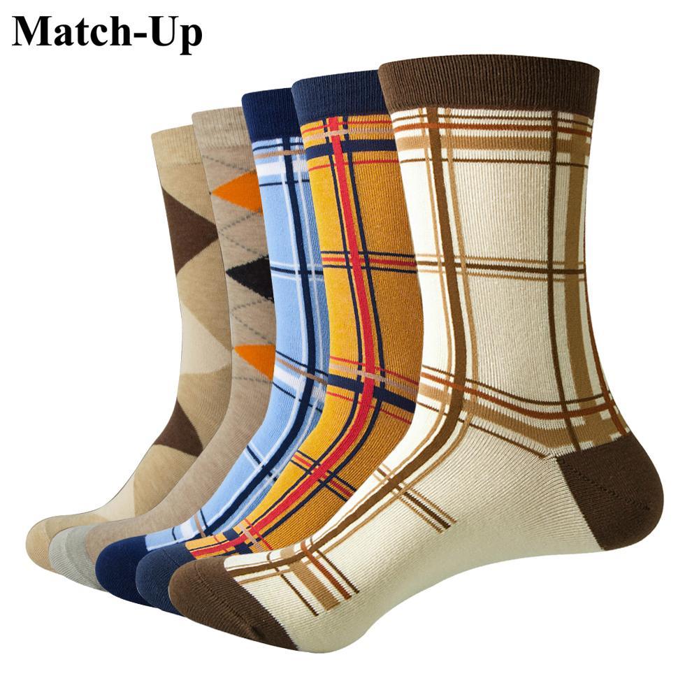 Match-Up Casual Мужские носки с дизайн Смешные носки Gradient Модельер Стиль Хлопок (5 пар / серия)