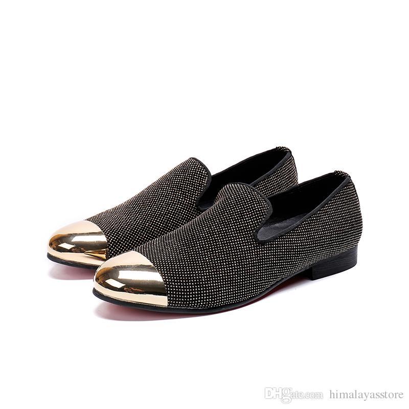 Fashion Business office shoes gold toe dress shoes for men new style slip-on rivet Oxfords Men size 38-46