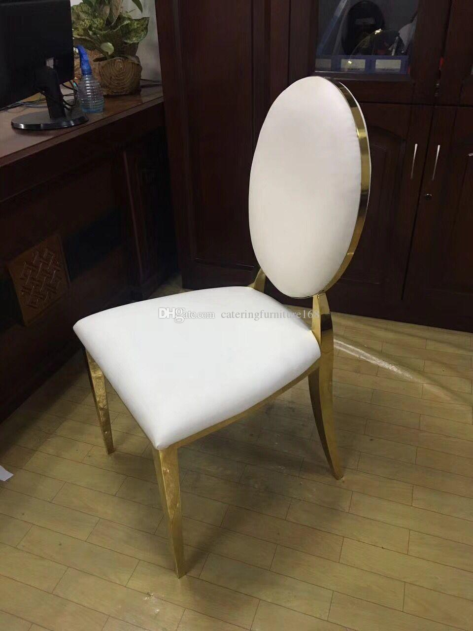 2019 Gold Silver Stackable Stacking Banquet Wedding Stainless Steel Leather Round Back Dining Chair From Cateringfurniture168 38 2 Dhgate Com