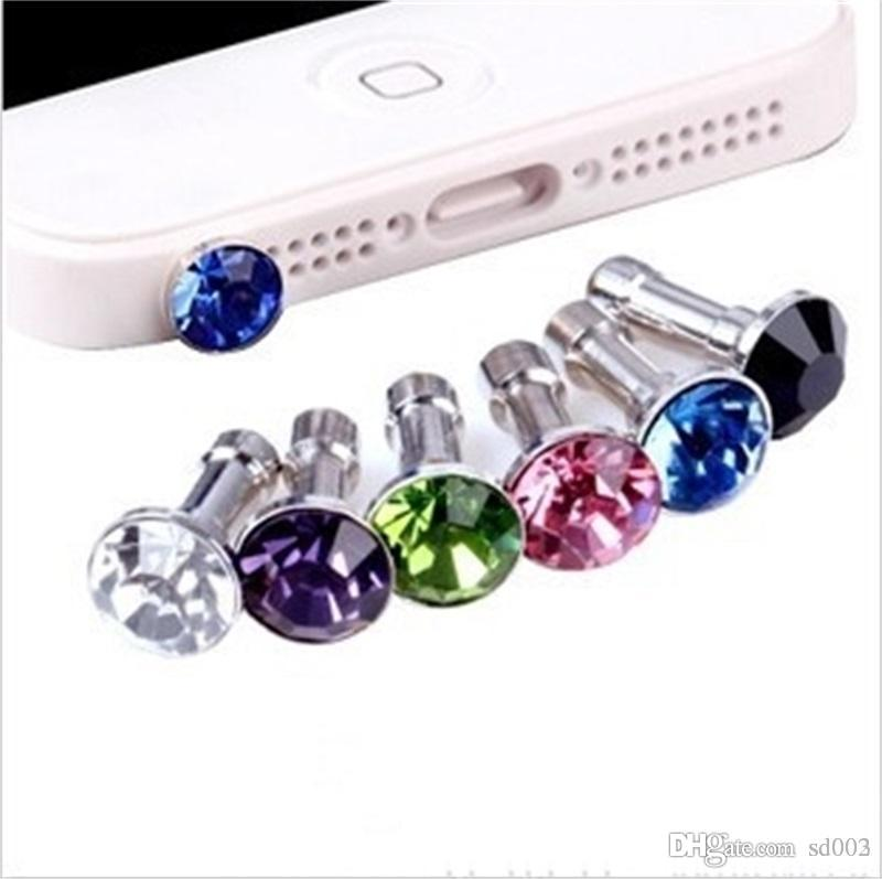 Metal Crystal Diamonds Dust Plug Rhinestone Fashion Bling Anti Plugs Headphone For All Mobile Phone Gadgets Trumpet Mini Shape 0 1hx ZZ