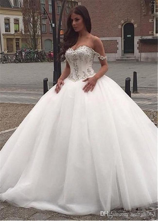 Stunning Beaded Crystal Ball Gown Wedding Dresses Off Shoulder Lace  Applique White Tulle Plus Size Corset Bridal Gowns Ball Wedding Dress  Beaded Ball ...
