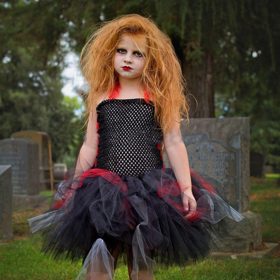 2018 keenomommy meninas zombie tutu dress preto vermelho traje de halloween scary monstro pageant crianças baby party dress
