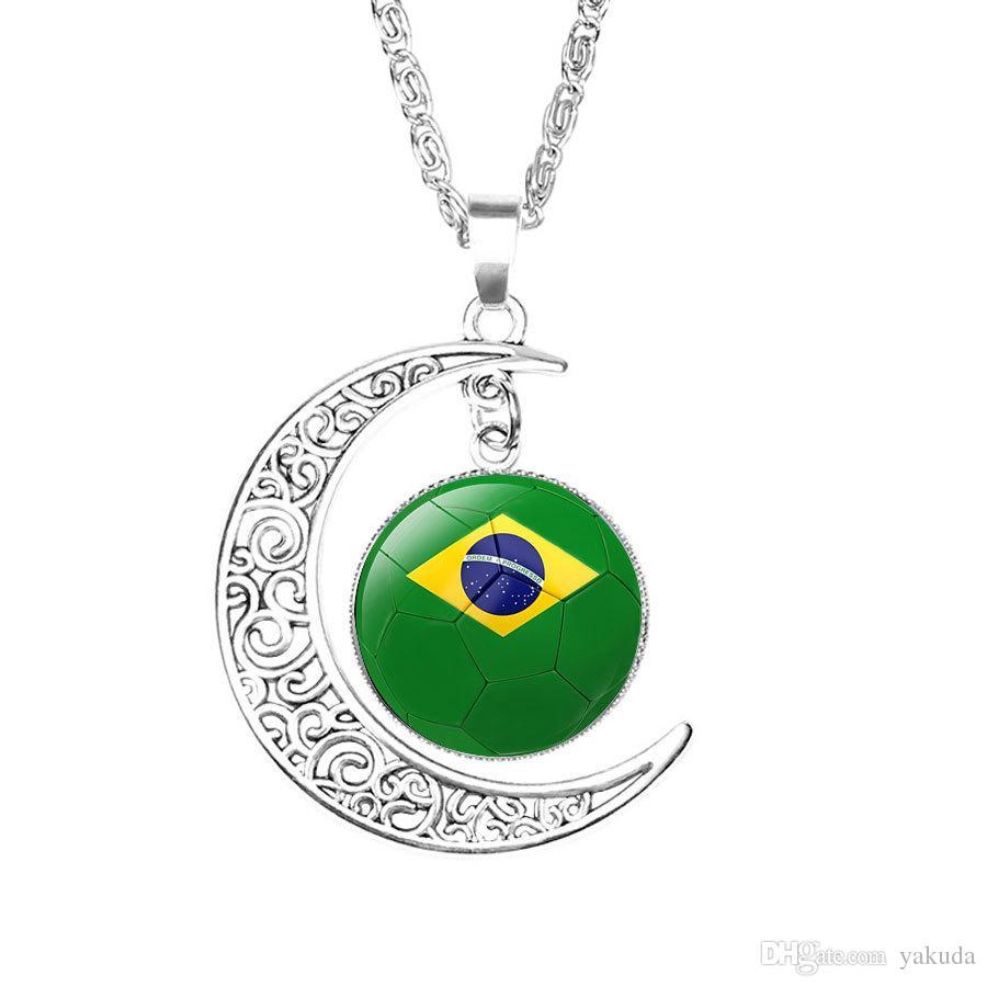 Desconto colar de futebol do México Lembranças, 2018 Rússia fã da Copa do Mundo de jóias, mens bandeira nacional de futebol tempo pingente de pedra preciosa crescente