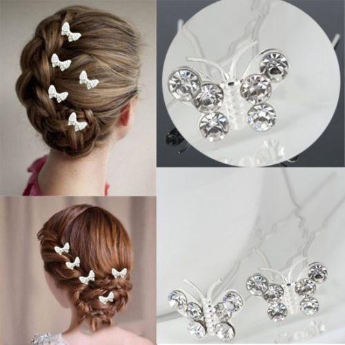 200pcs épingles à cheveux de mariage papillon demoiselle d'honneur cristal diamante pinces à cheveux de mariée poignées
