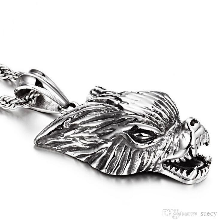 Novo Punk Masculino Lobo Cabeça Pingente De Prata Do Vintage de Aço Inoxidável Amuleto Animal Lobo Pingente de Colar de Jóias Para Cool Men