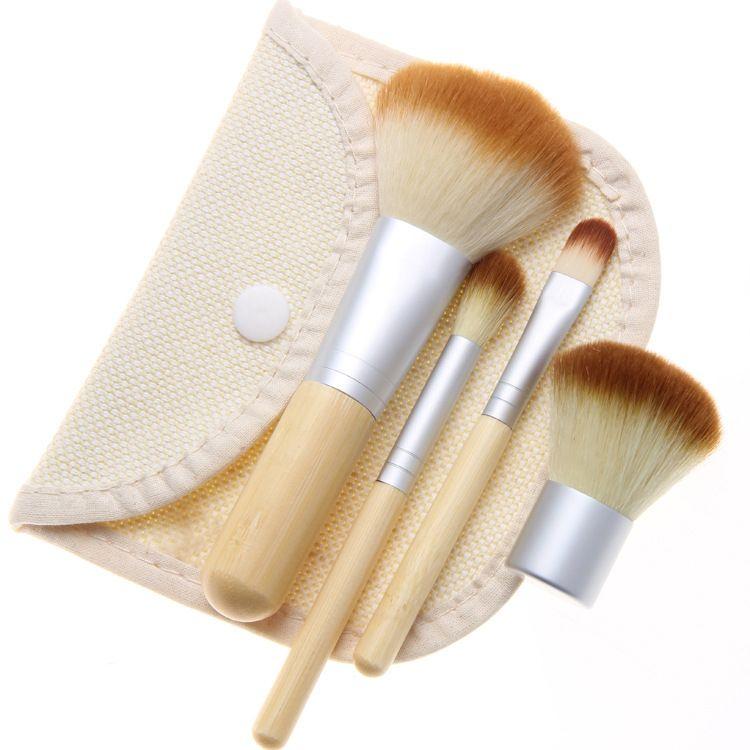 4Pcs Set Kit wooden Makeup Brushes Beautiful Professional Bamboo Elaborate make Up brush Tools With Case zipper bag butt11*3.5cm CS00401