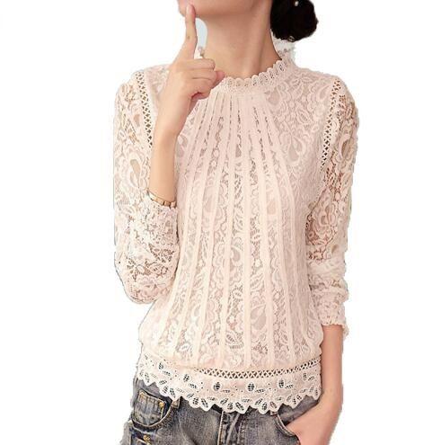 New Summer Ladies White Blusas Women's Long Sleeve Chiffon Lace Crochet Tops Blouses Women Clothing Feminine Blouse